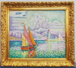 Antique Oil On Canvas By Paul Sicnac With Frame In Golden Leaf