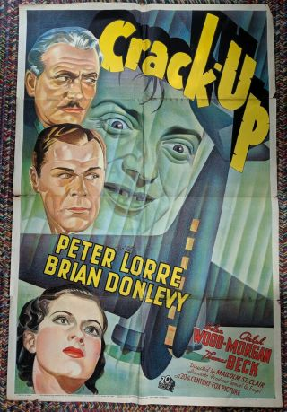 "Rare Movie Poster "" Crack Up "" Peter Lorre 41 "" X 27 """