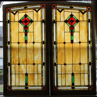 """2 Large Antique Stained Glass Windows 61 """" X 30 """" Circa 1940 - Funeral Home"""