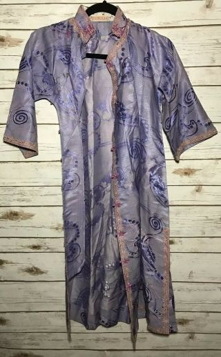 Vintage 1900s Chinese Patterned Silk Damask Cheongsam Qipao Art Deco Shanghai 3