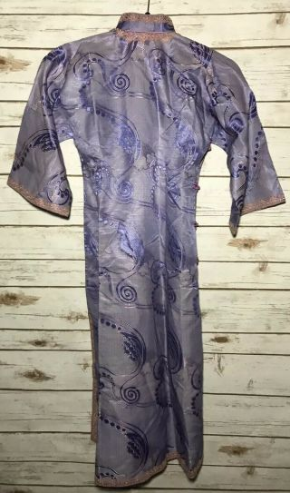 Vintage 1900s Chinese Patterned Silk Damask Cheongsam Qipao Art Deco Shanghai 5