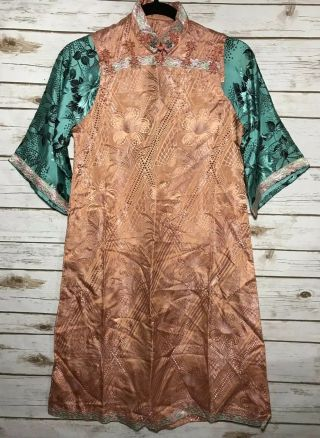 Vintage 1930s Chinese Patterned Silk Damask Cheongsam Qipao Art Deco Shanghai
