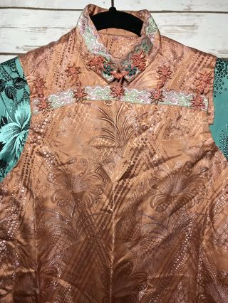 Vintage 1930s Chinese Patterned Silk Damask Cheongsam Qipao Art Deco Shanghai 2