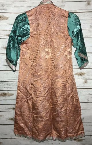 Vintage 1930s Chinese Patterned Silk Damask Cheongsam Qipao Art Deco Shanghai 9
