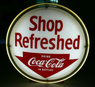 Ultra Rare 1950s Coca Cola Shop Refreshed Light Up Advertising Sign Wow