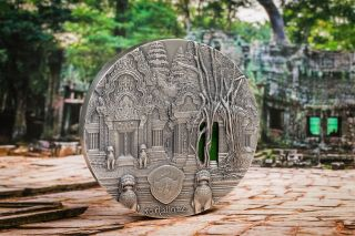 2019 Palau 1 Kilogram Tiffany Art Angkor Temple Antique Finish Silver Coin