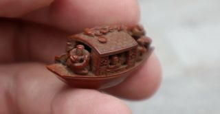 Chinese Hediao Carved Peach Stone Boat Qing Dynasty 19th Century