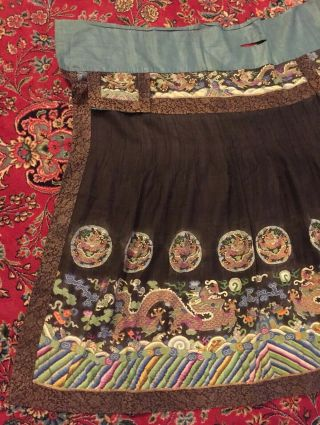 Antique Chinese Pleated Black Gold Dragon Silk Wrap Around Skirt 37x87 Inches 2