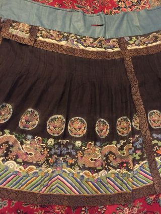 Antique Chinese Pleated Black Gold Dragon Silk Wrap Around Skirt 37x87 Inches 3