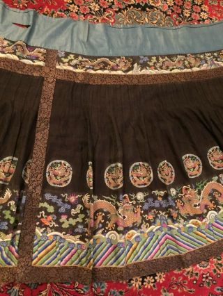 Antique Chinese Pleated Black Gold Dragon Silk Wrap Around Skirt 37x87 Inches 4