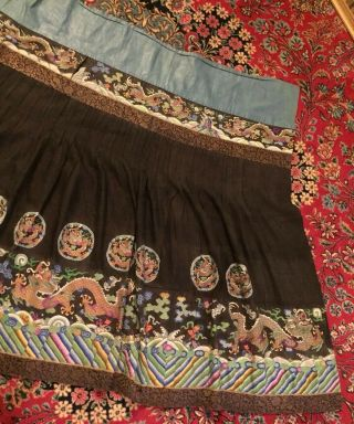 Antique Chinese Pleated Black Gold Dragon Silk Wrap Around Skirt 37x87 Inches 5