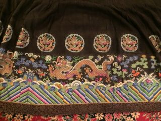 Antique Chinese Pleated Black Gold Dragon Silk Wrap Around Skirt 37x87 Inches 6