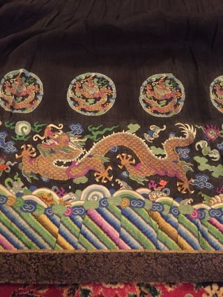 Antique Chinese Pleated Black Gold Dragon Silk Wrap Around Skirt 37x87 Inches 7