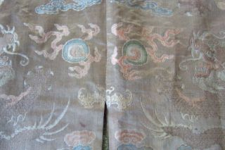 Anitique Chinese Imperial 19th century Robe/ Longpao silk brocade - 5 toe dragons, 10