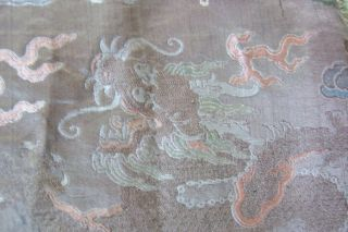 Anitique Chinese Imperial 19th century Robe/ Longpao silk brocade - 5 toe dragons, 11