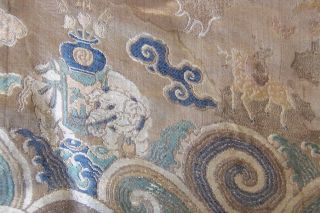Anitique Chinese Imperial 19th century Robe/ Longpao silk brocade - 5 toe dragons, 3