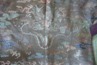 Anitique Chinese Imperial 19th century Robe/ Longpao silk brocade - 5 toe dragons, 6