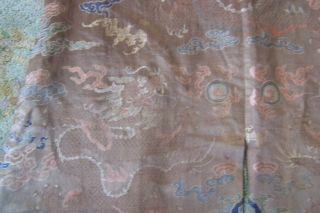 Anitique Chinese Imperial 19th century Robe/ Longpao silk brocade - 5 toe dragons, 7