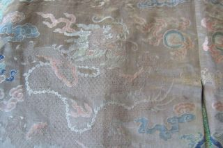Anitique Chinese Imperial 19th century Robe/ Longpao silk brocade - 5 toe dragons, 9