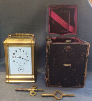 Antique Tiffany & Co Bronze Carriage Clock Repeater Case Keys 13 Jewels France