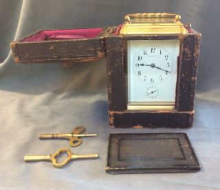 Antique Tiffany & Co Bronze Carriage Clock Repeater Case Keys 13 Jewels France 2