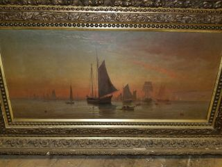 Antique 17th Century Seascape Boat Oil Painting Signed 36x16