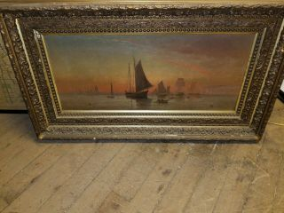 Antique 17th century Seascape Boat Oil Painting Signed 36x16 2