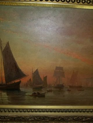 Antique 17th century Seascape Boat Oil Painting Signed 36x16 4