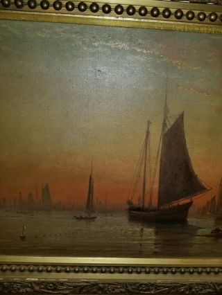 Antique 17th century Seascape Boat Oil Painting Signed 36x16 5