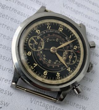 Extremely Rare Cyma Chronograph Watersport Clamshell Case Ca 1940 Valjoux 22