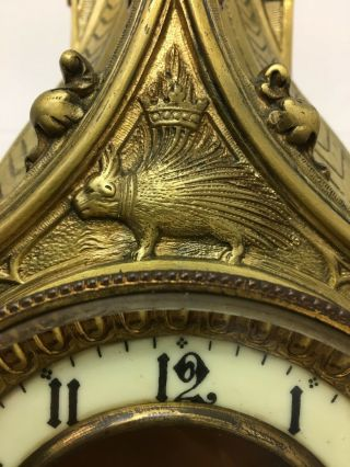 Rare 1893 Pugin Style GOTHIC REVIVAL Gilt Bronze Brass CATHEDRAL Large CLOCK 10