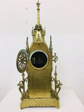 Rare 1893 Pugin Style GOTHIC REVIVAL Gilt Bronze Brass CATHEDRAL Large CLOCK 11