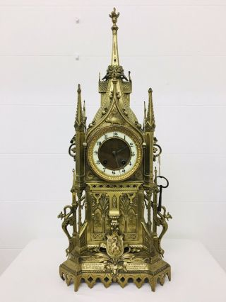Rare 1893 Pugin Style GOTHIC REVIVAL Gilt Bronze Brass CATHEDRAL Large CLOCK 12
