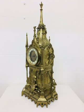 Rare 1893 Pugin Style GOTHIC REVIVAL Gilt Bronze Brass CATHEDRAL Large CLOCK 2