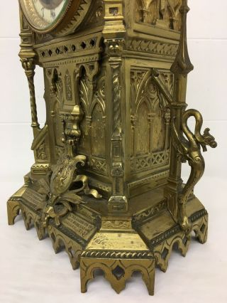 Rare 1893 Pugin Style GOTHIC REVIVAL Gilt Bronze Brass CATHEDRAL Large CLOCK 4