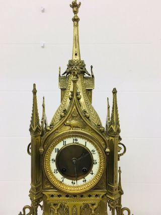 Rare 1893 Pugin Style GOTHIC REVIVAL Gilt Bronze Brass CATHEDRAL Large CLOCK 6