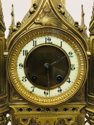 Rare 1893 Pugin Style GOTHIC REVIVAL Gilt Bronze Brass CATHEDRAL Large CLOCK 7