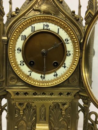Rare 1893 Pugin Style GOTHIC REVIVAL Gilt Bronze Brass CATHEDRAL Large CLOCK 9