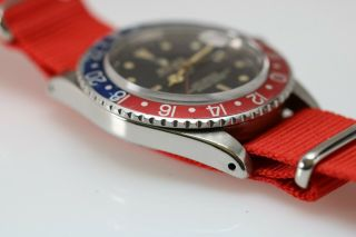 Rolex GMT Master 1675 Gilt Chapter Ring Pointed Crown Guard Vintage Watch,  1960s 10