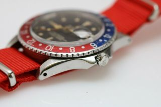 Rolex GMT Master 1675 Gilt Chapter Ring Pointed Crown Guard Vintage Watch,  1960s 11