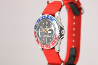 Rolex GMT Master 1675 Gilt Chapter Ring Pointed Crown Guard Vintage Watch,  1960s 12