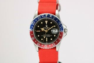 Rolex GMT Master 1675 Gilt Chapter Ring Pointed Crown Guard Vintage Watch,  1960s 2
