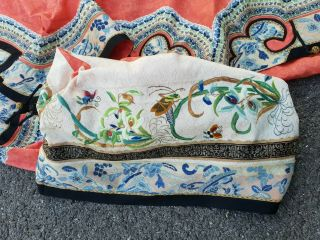Antique 19 th Chinese silk embroidery robe textile dress 3