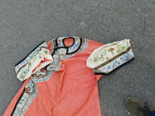 Antique 19 th Chinese silk embroidery robe textile dress 4