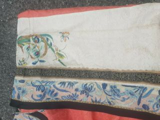 Antique 19 th Chinese silk embroidery robe textile dress 7