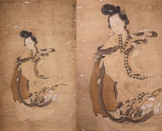 Antique Chinese Scroll Painting On Silk Female Figure With Calligraphy And Seal