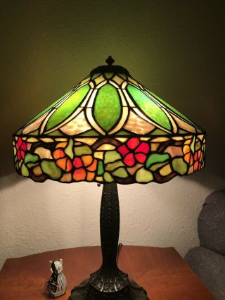 Duffner & Kimberly Floral Nasturtium Border Leaded Stained Glass Lamp Shade