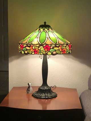Duffner & kimberly Floral Nasturtium Border Leaded Stained Glass Lamp Shade 2