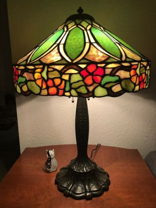 Duffner & kimberly Floral Nasturtium Border Leaded Stained Glass Lamp Shade 3