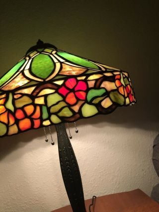Duffner & kimberly Floral Nasturtium Border Leaded Stained Glass Lamp Shade 4